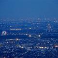 岐阜公園:展望レストランの展望台から見た夜景 - 4(木曽三川公園の観覧車とツインアーチ138)