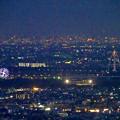 岐阜公園:展望レストランの展望台から見た夜景 - 19(木曽三川公園の観覧車とツインアーチ138)