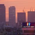 写真: 愛知芸術文化センターから見た夕焼け - 3:名駅ビル群