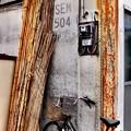 写真: 葦簀と錆