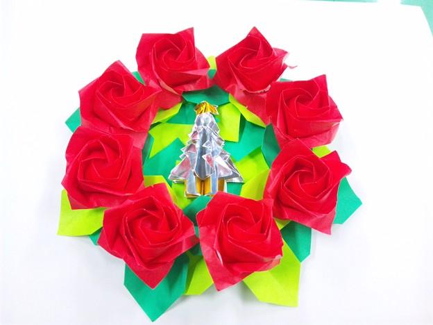 クリスマス 折り紙 折り紙 クリスマスリース : photozou.jp