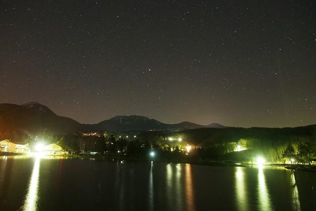 蓼科山と蓼科湖を彩る東の星空