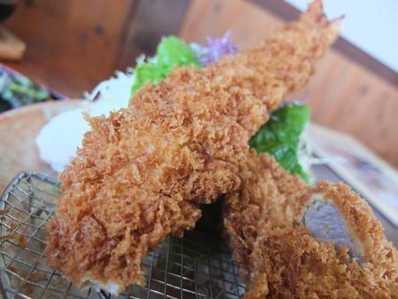 銭形 寺島店 大エビヒレ定食 大エビフライアップ