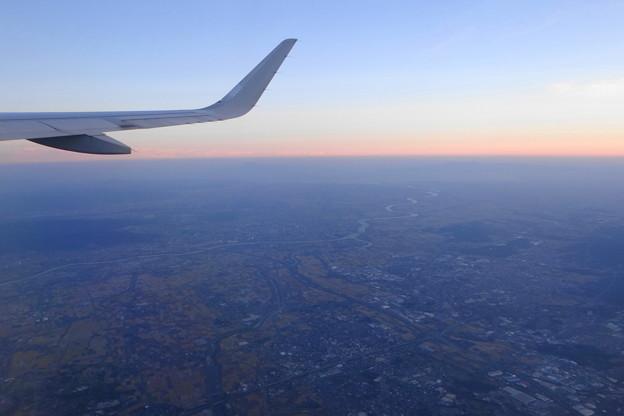 久留米市上空からの筑後平野
