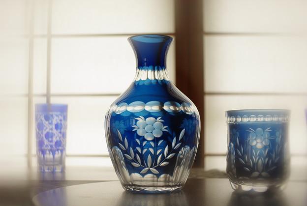 青切子の壺とグラス