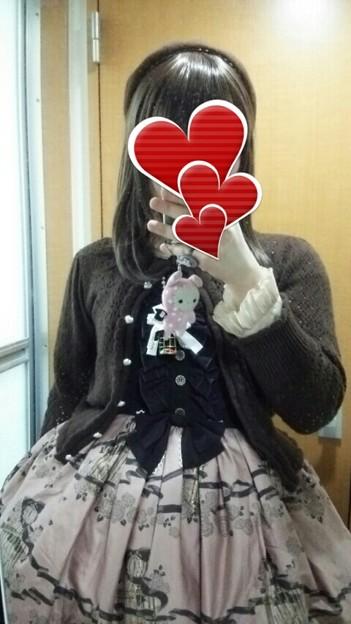 今日のお出かけで着た服。メタモのRase cageコーデヽ(・∀・)ノ バッスルジャンパースカートいい感じ(°▽°)