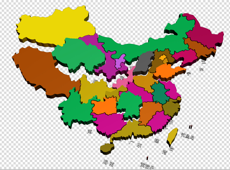 中国地图各省分区3ds max模型