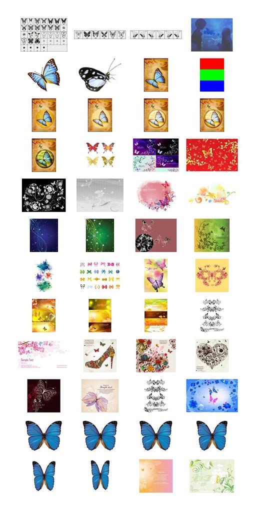 60套蝴蝶PSD素材,矢量素材,笔刷合集