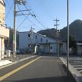 山陽本線上郡駅と白ポストの位置関係。(2015年)