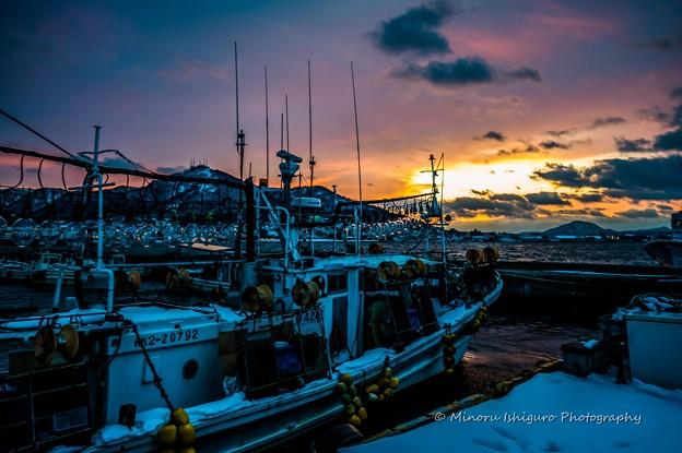 夕陽の函館港