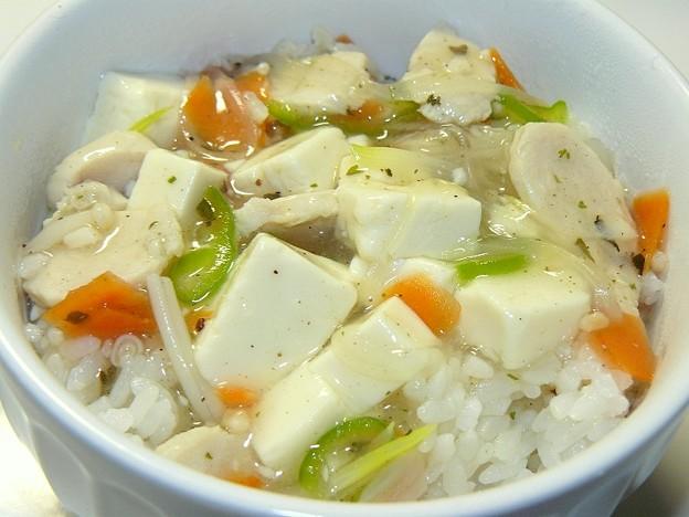 鶏ささ身と豆腐の洋風あんかけ丼