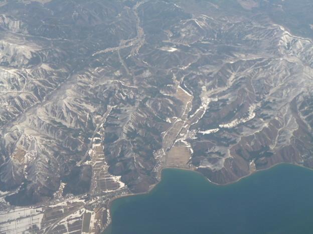空から見た猪苗代湖