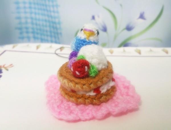 編みぐるみ ミニミニインコ&パンケーキ