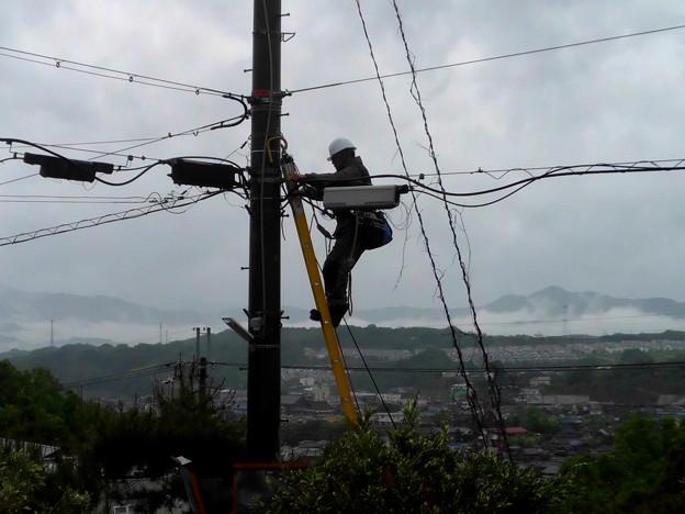 台風6号が来る、電線の点検か?