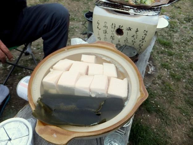 桜豆腐で湯豆腐