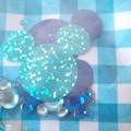 ミッキーマウス ミニーマウス がま口 ポーチ がまぐち ブルー ラメ チェック