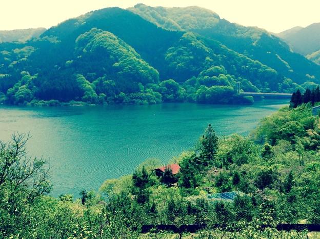 懐かしい風景な神流湖。。4月29日